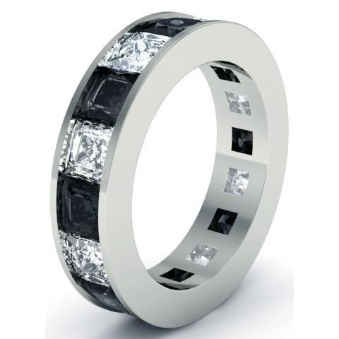 Black and White Diamond Gemstone Eternity Anniversary Ring Gemstone Eternity Rings deBebians