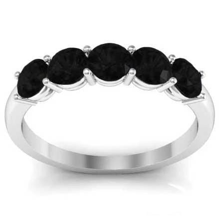 1.00cttw Shared Prong Black Diamond 5 Stone Wedding Ring Five Stone Rings deBebians