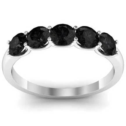1.00cttw U Prong Black Diamond 5 Stone Wedding Ring Five Stone Rings deBebians