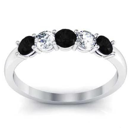 0.50cttw Shared Prong Black Diamond and White Diamond Five Stone Ring Five Stone Rings deBebians