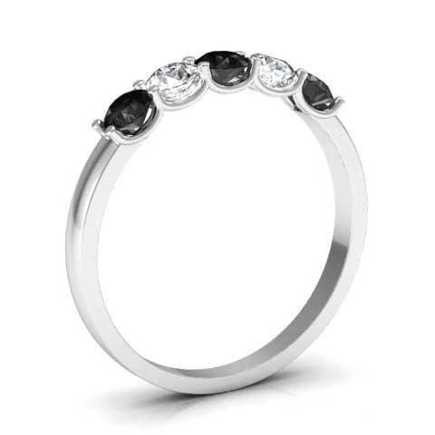 0.50cttw U Prong Black Diamond and White Diamond Five Stone Band Five Stone Rings deBebians