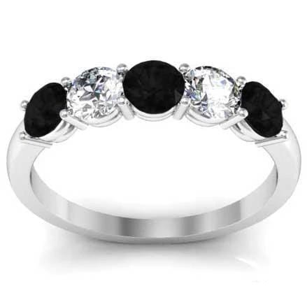 1.00cttw Shared Prong Black Diamond and White Diamond Five Stone Ring Five Stone Rings deBebians