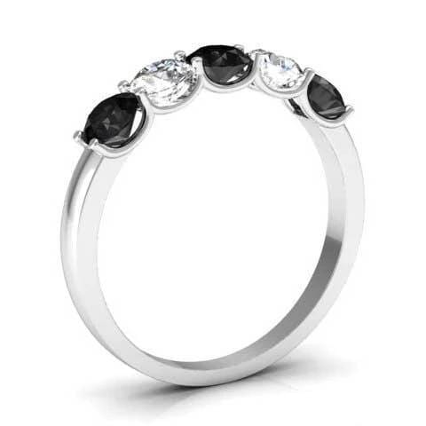 1.00cttw U Prong Black Diamond and White Diamond Five Stone Band Five Stone Rings deBebians