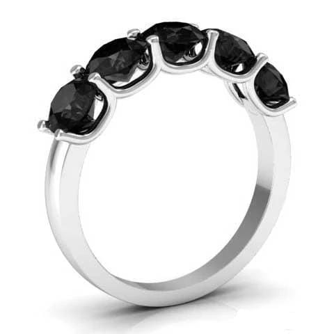 2.00cttw U Prong Black Diamond 5 Stone Band Five Stone Rings deBebians