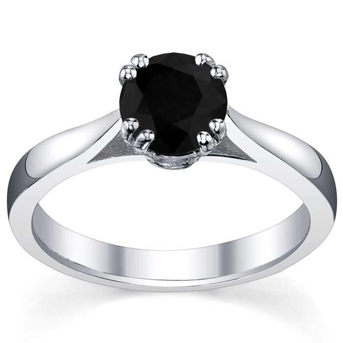 Black Diamond Double Prong Tapered Solitaire Solitaire Engagement Rings deBebians