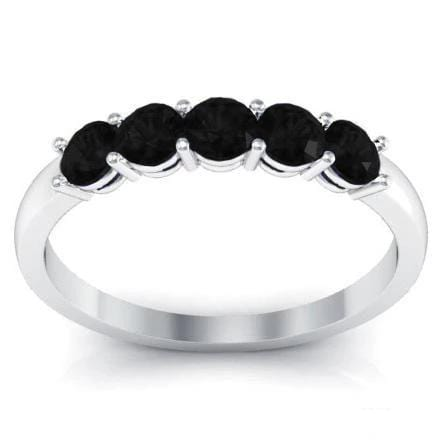 0.50cttw Shared Prong Black Diamond Five Stone Ring Five Stone Rings deBebians