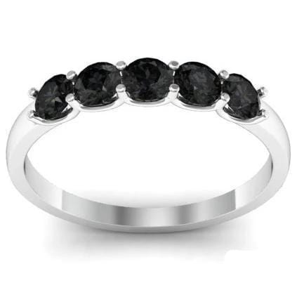 0.50cttw U Prong Black Diamond Five Stone Band Five Stone Rings deBebians