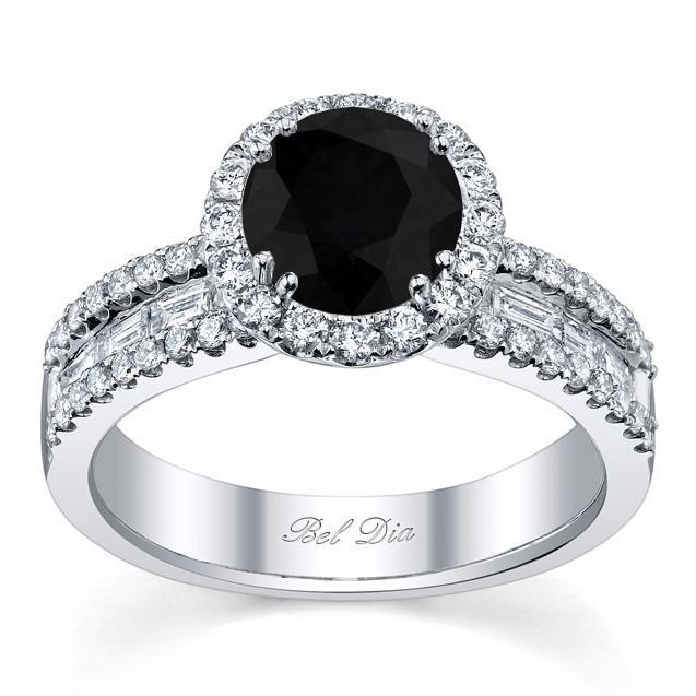 Black Diamond Round Halo Ring with Baguettes Black Diamond Engagement Rings deBebians