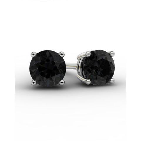 Black Diamond Studs Gemstone Stud Earrings deBebians