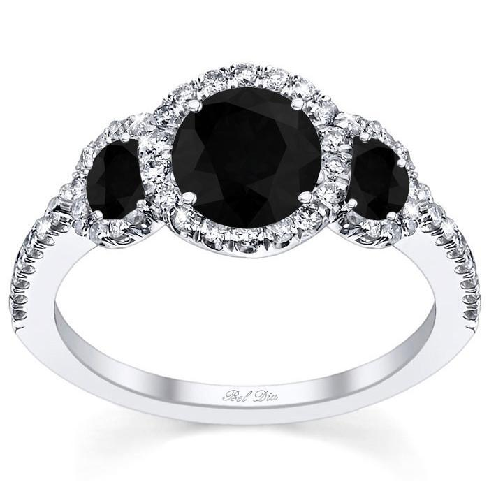 Black Diamond Three Stone Halo Engagement Ring