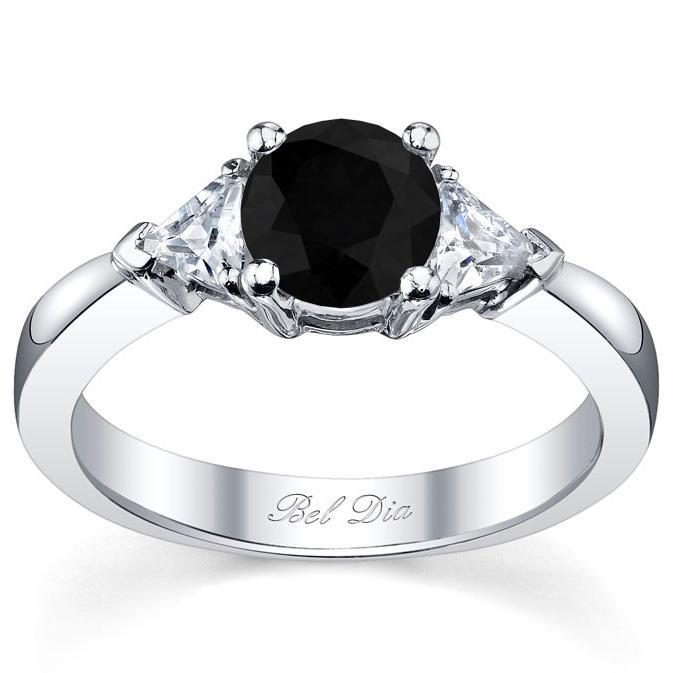Black Diamond Three Stone Ring with Trillions