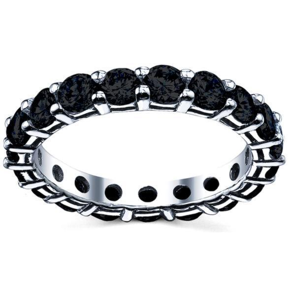 Black Eternity Band Round Brilliant Diamonds Gemstone Eternity Rings deBebians
