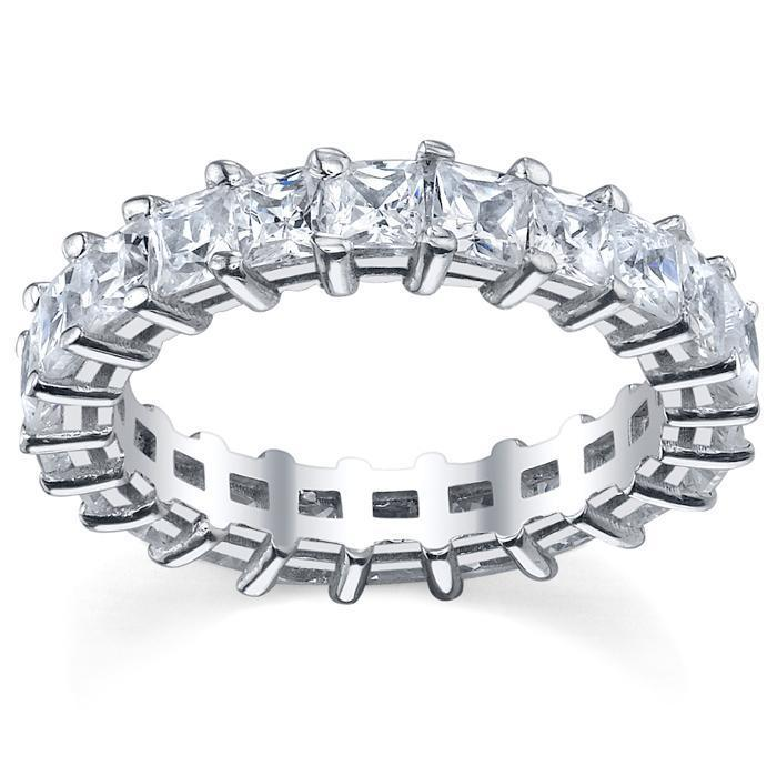 Princess Cut Shared Prong Diamond Eternity Band - 4.00 carat - I1 Clarity Diamond Eternity Rings deBebians