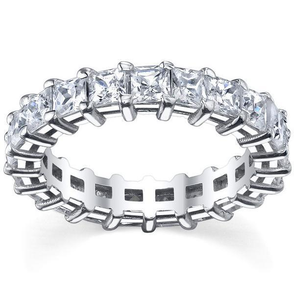 Princess Cut Shared Prong Diamond Eternity Band - 5.00 carat - I1 Clarity Diamond Eternity Rings deBebians