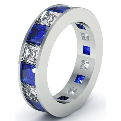 Blue Sapphire and Diamond Eternity Anniversary Band Gemstone Eternity Rings deBebians