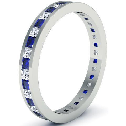 Blue Sapphire and Diamond Eternity Ring Gemstone Eternity Rings deBebians