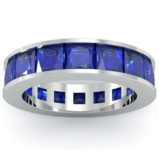 Blue Sapphire Birth Stone Eternity Band Gemstone Eternity Rings deBebians