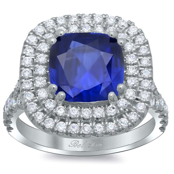 Blue Sapphire Cushion Double Halo Engagement Ring Sapphire Engagement Rings deBebians