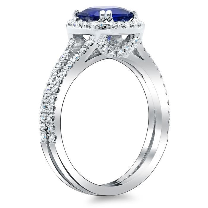 Blue Sapphire Cushion Double Shank Halo Engagement Ring Sapphire Engagement Rings deBebians