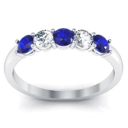 0.50cttw Shared Prong Blue Sapphire and Diamond Five Stone Ring Five Stone Rings deBebians