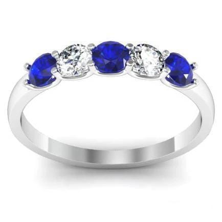 0.50cttw U Prong Blue Sapphire and Diamond Five Stone Band Five Stone Rings deBebians