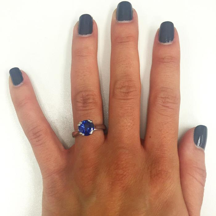 Blue Sapphire Double Prong Tapered Solitaire Solitaire Engagement Rings deBebians