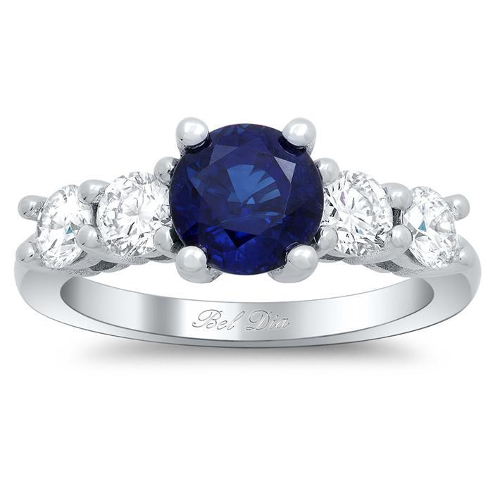 Blue Sapphire Five Stone Engagement Ring with Diamond Accents Sapphire Engagement Rings deBebians
