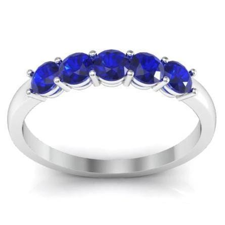0.50cttw Shared Prong Blue Sapphire Five Stone Ring Five Stone Rings deBebians