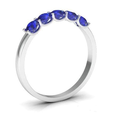 0.50cttw U Prong Blue Sapphire Five Stone Band Five Stone Rings deBebians