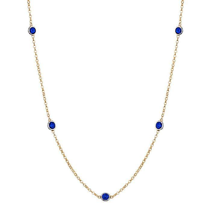 Gemstone Blue Sapphire Station Necklace Gemstone Station Necklaces deBebians