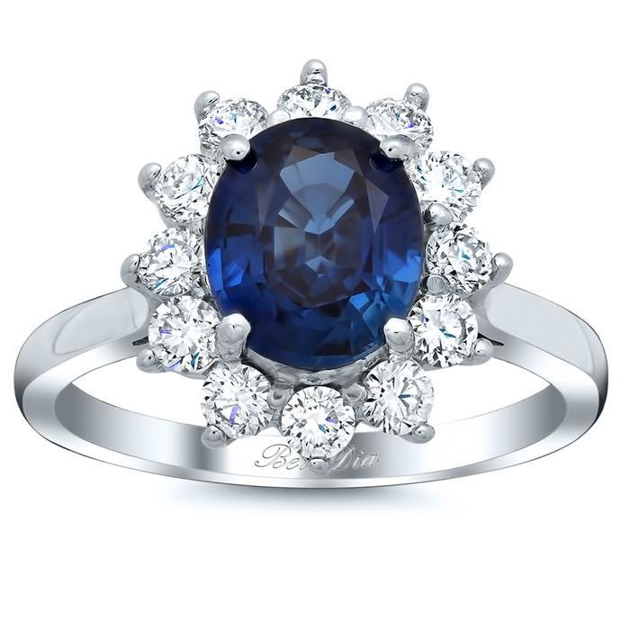 Blue Sapphire Halo Engagement Ring