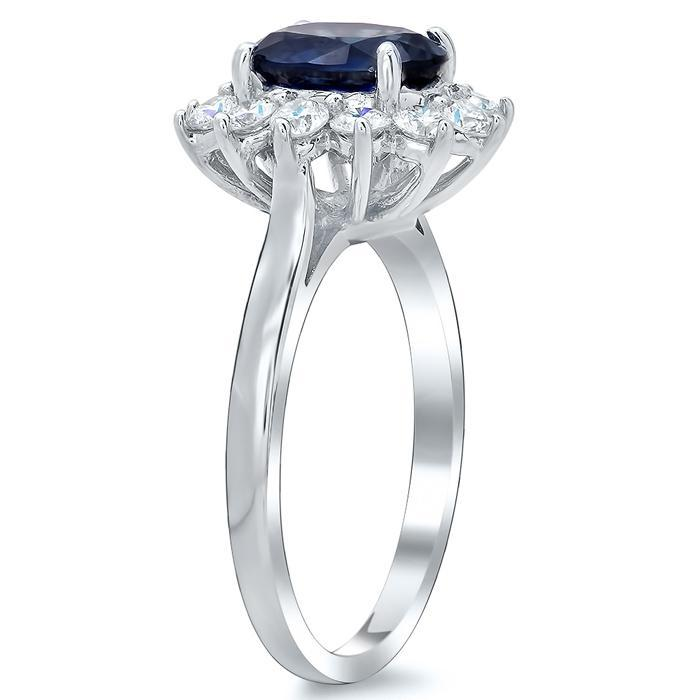 Blue Sapphire Halo Engagement Ring Sapphire Engagement Rings deBebians