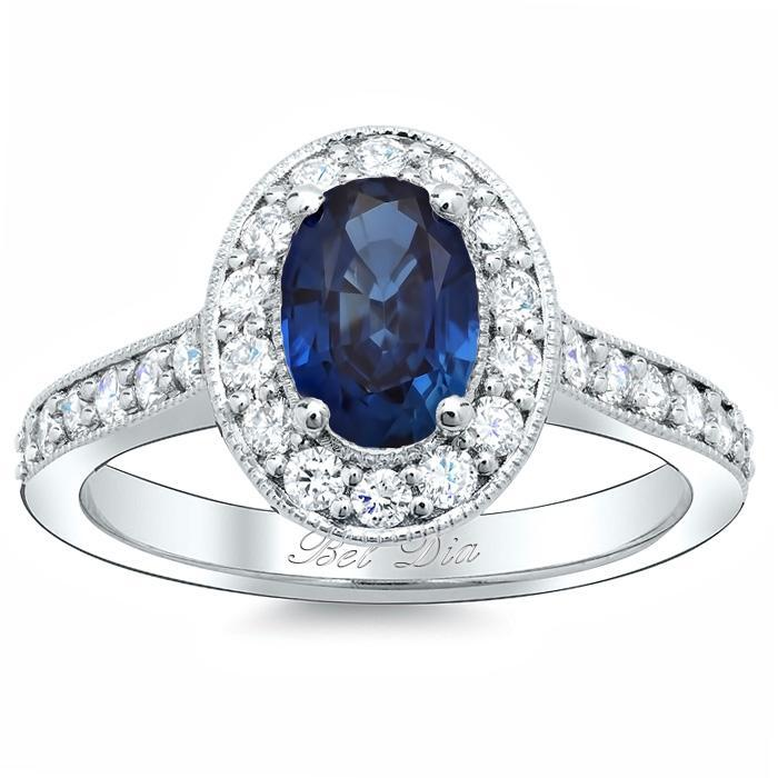 Blue Sapphire Oval Pave Halo Engagement Ring