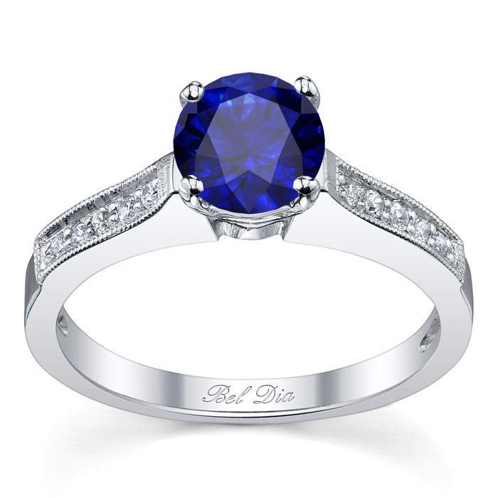 Blue Sapphire Pave Engagement Ring with Milgrain Sapphire Engagement Rings deBebians