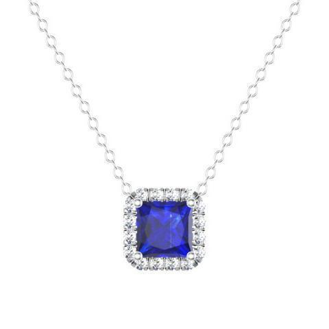Blue Sapphire Princess Halo Pendant Diamond Necklaces deBebians