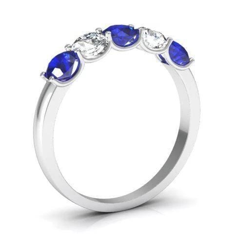 1.00cttw U Prong Blue Sapphire and Diamond Five Stone Band Five Stone Rings deBebians