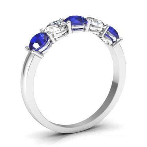 1.00cttw Shared Prong Blue Sapphire and Diamond Five Stone Ring Five Stone Rings deBebians