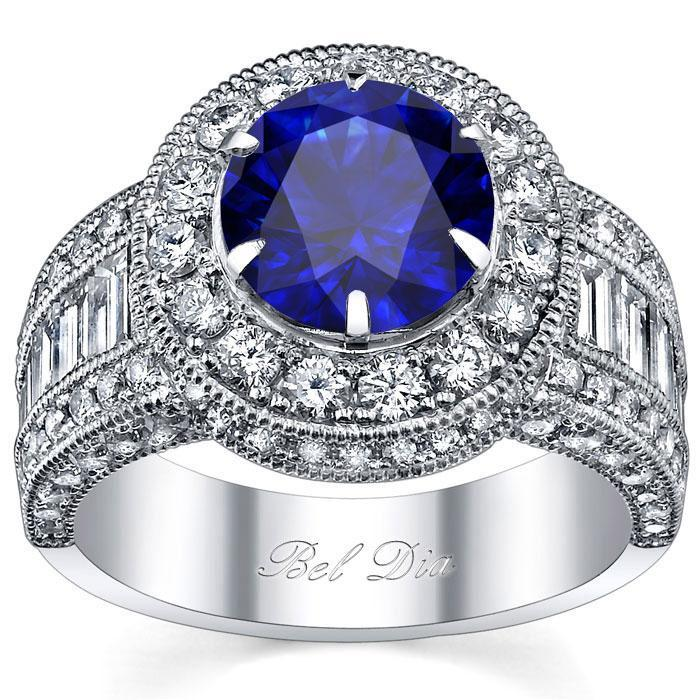 Blue Sapphire Round Halo Engagement Ring