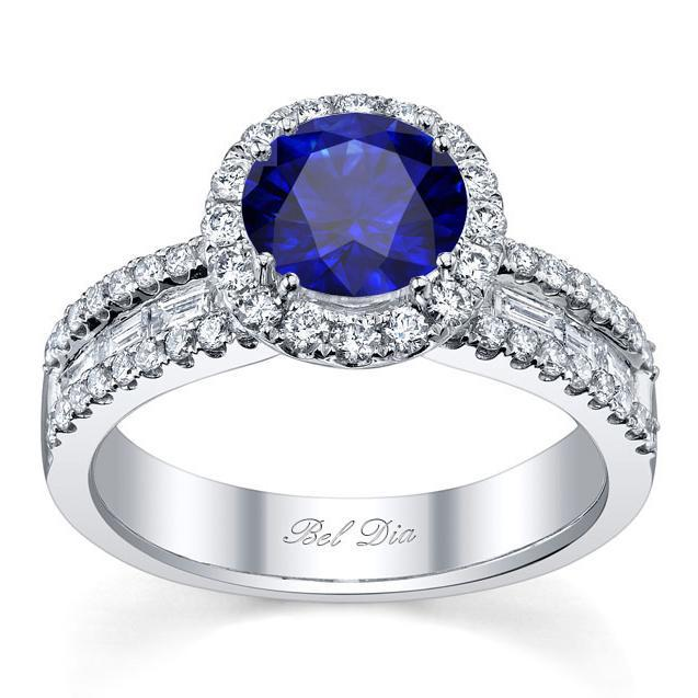 Blue Sapphire Round Halo Ring with Baguettes Sapphire Engagement Rings deBebians