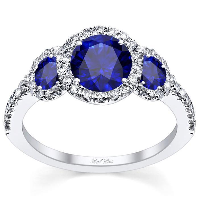 Blue Sapphire Three Stone Halo Engagement Ring Sapphire Engagement Rings deBebians