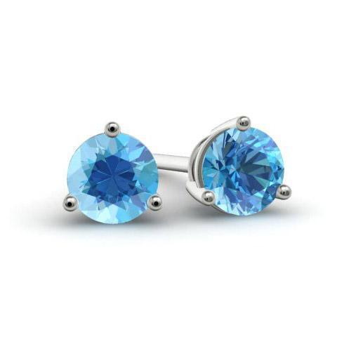 Blue Topaz Stud Earrings Gemstone Stud Earrings deBebians