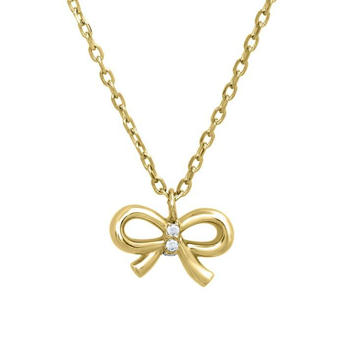 Bow Pendant with Pave Diamond Knot Diamond Necklaces deBebians