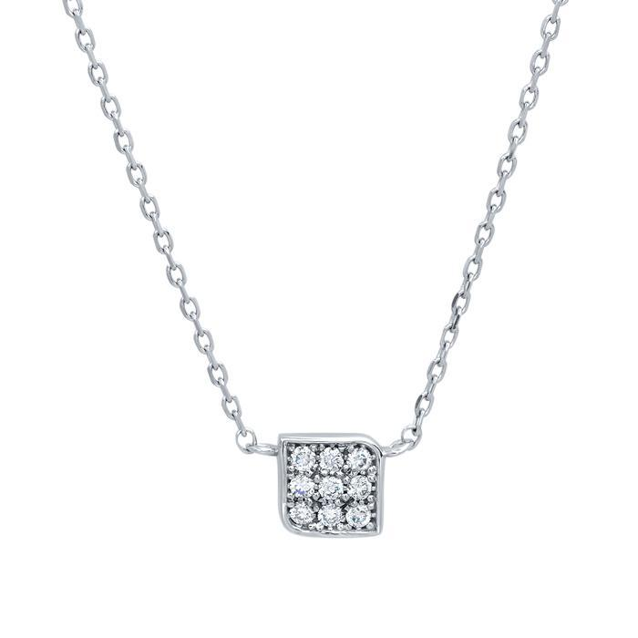 Box Pendant with Pave Diamonds Diamond Necklaces deBebians