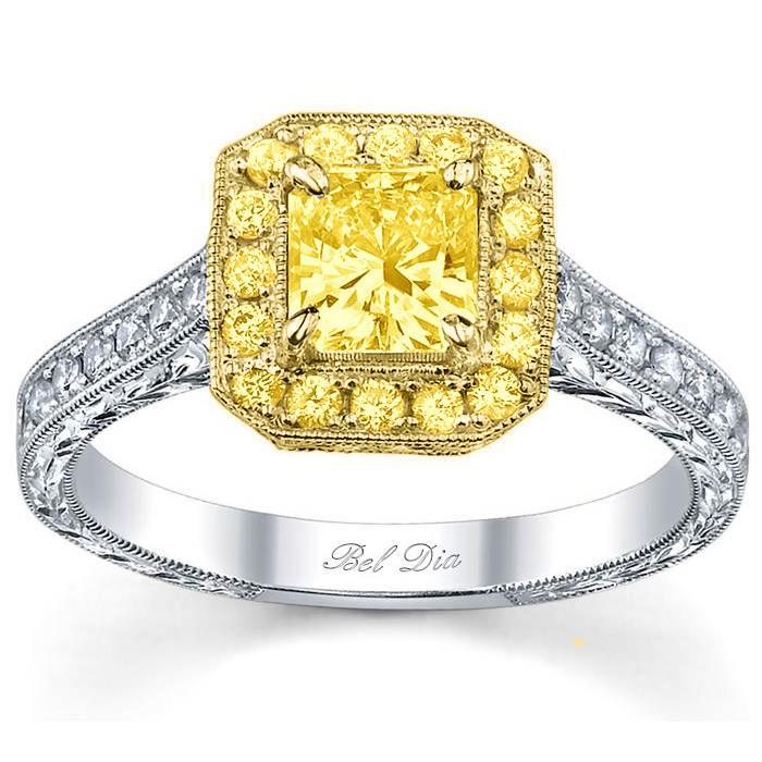 Canary Diamond Halo Engagement Ring with Yellow Diamond and Yellow Gold Yellow Diamond Engagement Rings deBebians
