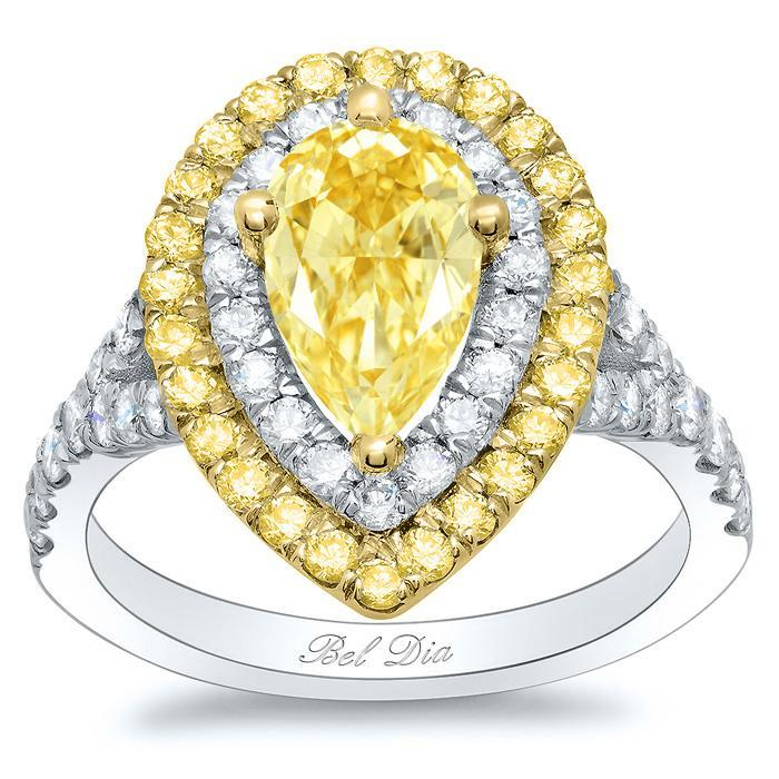 Canary Pear Double Halo Engagement Ring with Yellow Diamond Outer Halo Yellow Diamond Engagement Rings deBebians