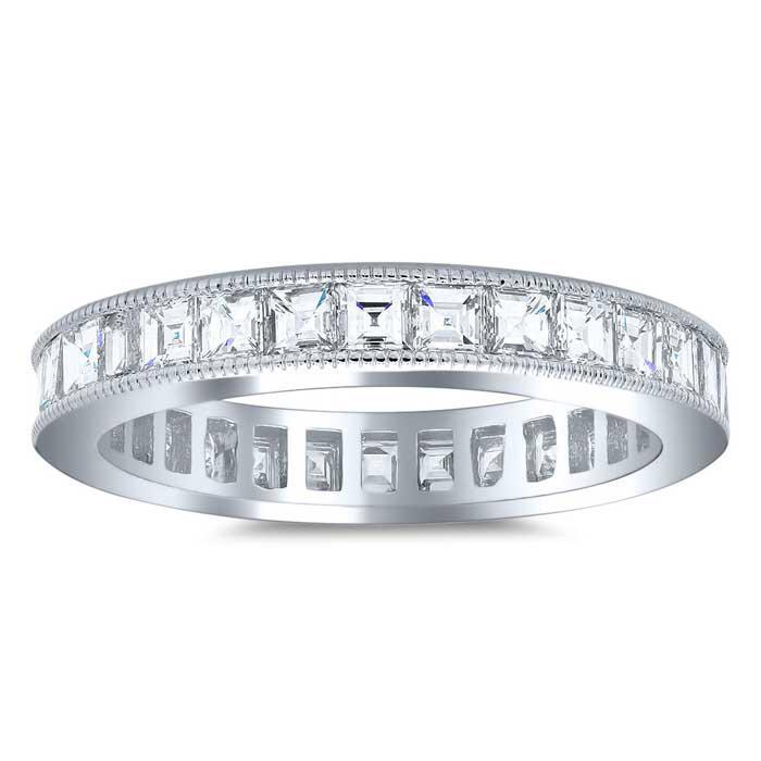Carre Cut Channel Set Milgrain Diamond Eternity Band - 2.00 carat Diamond Eternity Rings deBebians