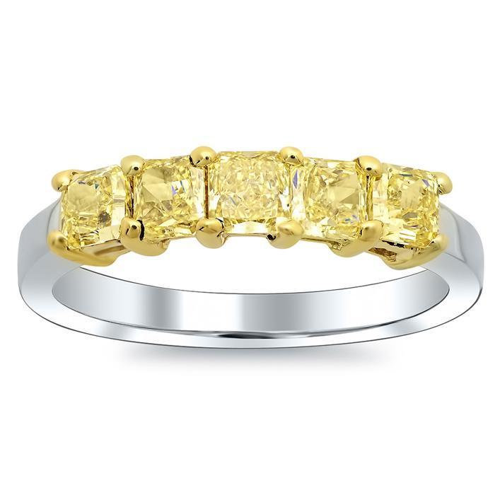 1.00cttw Shared Prong Canary Yellow Diamond Ring 5 Stone Ring Five Stone Rings deBebians