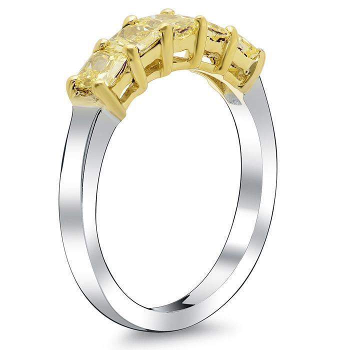 Canary Yellow Diamond Ring 5 Stone 1.05cttw
