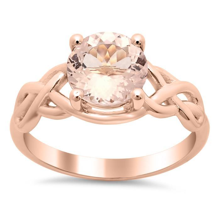 Celtic Knot Morganite Engagement Ring Solitaire Engagement Rings deBebians