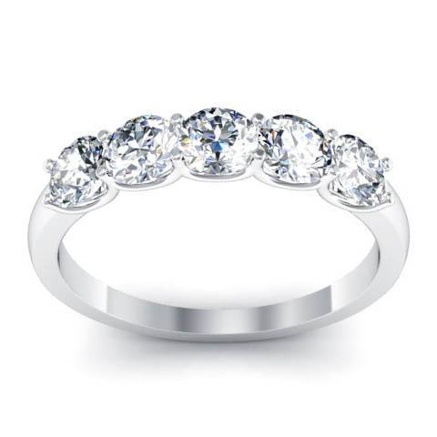1.10cttw U Prong Round Cut GIA Certified Diamond Five Stone Ring Five Stone Rings deBebians